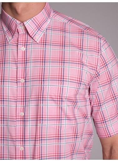 Dufy Pembe Karelı Ince Dokuma Kısa Kol Erkek Gömlek - Regular Fıt Pembe
